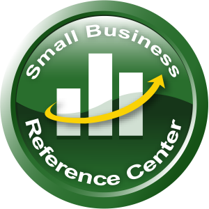 Small Business Reference Center logo with a 3-bar chart and arrow in the center