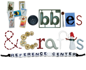 hobbies and craft reference center logo with the letters designed using various craft items